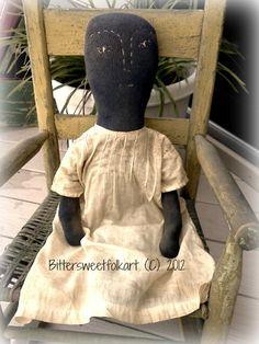Sock doll ..vintage dress    www.Bittersweetfolkart.com
