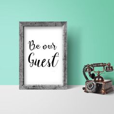 Show your guests how welcome they are in your home with this Be our guest print. This guest room sign will make the perfect addition to your spare bedroom. No printer, no problem, just send the file to your local photo lab.