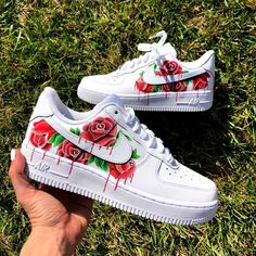 Nike Shoes OFF! ►► Red rose cluster by kustomb Cute Nike Shoes, Cute Nikes, Cute Sneakers, Nike Custom Shoes, Shoes Sneakers, Af1 Shoes, Custom Painted Shoes, Shoes Jordans, Custom Made Shoes