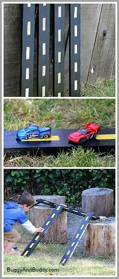 Such a simple idea! Kids will have hours of fun with these CAR RAMPS. All you need are some old planks of wood & some paint! Other ideas: http://www.under5s.co.nz/shop/Hot+Topics/Activities/Things+to+make.html
