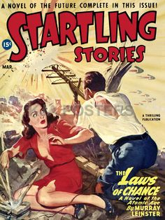 Vintage Men's Pulp Magazine Covers | Pulp Sci Fi Magazine Cover Startling Stories Murray Leinster
