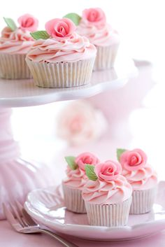 Wedding cupcakes are a modern choice which is seen more and more often at wedding receptions. The cupcakes look delicate and pretty and they come in different styles and sizes. Rosette Cupcakes, Pretty Cupcakes, Beautiful Cupcakes, Sweet Cupcakes, Wedding Cupcakes, Pink Cupcakes, Rose Cupcake, Valentine Cupcakes, Valentine Treats