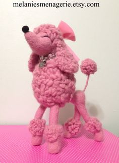 Felted Poodle Dog - Art Doll - Ready to Ship Pink Snooty French Poodle POSEABLE