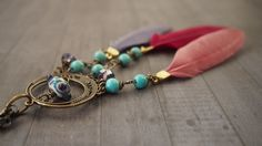 Bohemian Dream Catcher Necklace, Glass, Feather, Turquoise, Crystal Necklace, Spiritual Necklace, OOAK Boho Gypsy Jewelry, Hippie Pendant by LaSistaBeads on Etsy