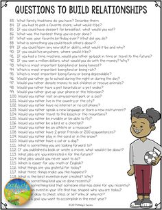 FREE list of over 100 questions to help build positive relationships and integrate social emotional learning into the classroom! Use this list to help students build relationships with adults and with each other. Questions To Get To Know Someone, Fun Questions To Ask, Getting To Know Someone, This Or That Questions, Random Questions, List Of Questions, Dating Questions, Conversation Starter Questions, Conversation Starters For Kids
