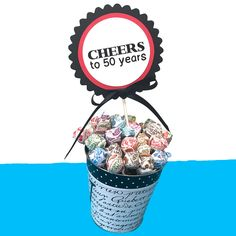 Birthday Cake Topper Decoration, Cheers to 50 Years, Candy Pick, Black Red and White or Your Choice of Colors - Birthday Cake Blue Ideen 40 Rocks, 50th Birthday Cake Toppers, 50th Birthday Party Decorations, Cheers, Happy Birthday, Red And White, Black, Candy, Etsy