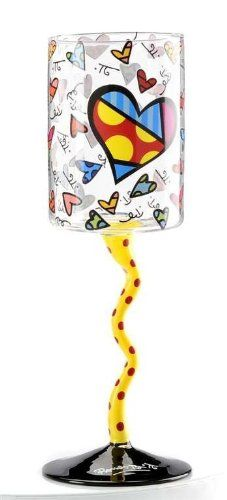 Romero Britto Yellow Squiggle Stem Heart Wine Glass -- You can get more details by clicking on the image.