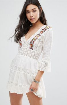 Free People Antiquity Embroidered Lace Dress