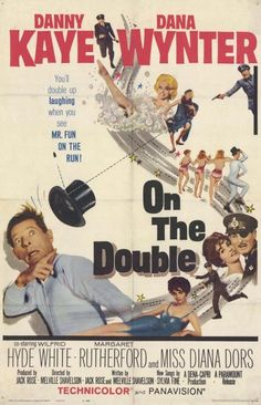 On the Double ( 1961 ) Danny Kaye Dana Wynter Wilfrid Hyde-White Margaret Rutherford Old Movie Posters, Classic Movie Posters, Movie Poster Art, Classic Movies, 1961 Movies, Old Movies, Vintage Movies, The Double Film, Double 11