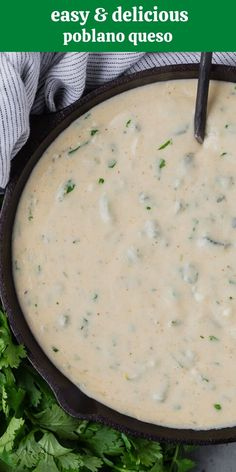 Creamy poblano queso dip, studded with flavorful roasted poblano peppers, is pleasantly spicy but not fiery. Enjoy it as a dip or a topping for tacos or nachos. Dip Recipes, Cheese Recipes, Snack Recipes, Cooking Recipes, Roasted Poblano Peppers, Stuffed Poblano Peppers, Crispy Sweet Potato, Roasted Sweet Potatoes, Low Fat Cream Cheese