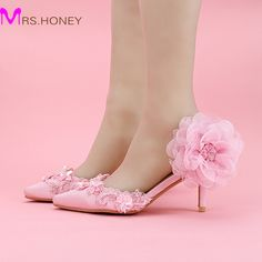 59.12$  Buy now - http://ali0py.worldwells.pw/go.php?t=32604263941 - Brand New Ladies Pink Satin Wedding Shoes Pointed Toe Fashionable Party Shoes Elegant Women Pumps Heels Appliques Princess Shoes 59.12$