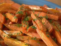 Sweet potato fries: Place the fries in a bowl and drizzle over the melted butter, olive oil, seasoned salt and pepper to taste, and toss together. Tip onto a baking sheet and bake for 10 to 15 minutes. Sprinkle over the parsley before serving. ***** Skip the butter!!!