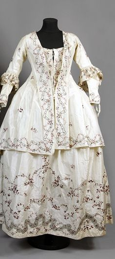Caraco Jacket, Detachable Sleeves, Bodice, and Petticoat, ca. 1770  via Sörmlands Museum