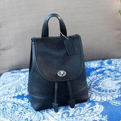 Coach Black Leather Backpack Rucksack Bag Purse Turn by vintageair