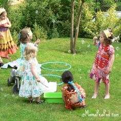 Mermaid party activities, bubbles in the yard