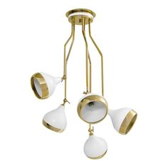 The Hanna Ceiling Light features a Gold finish with White shades. Heads move to direct light. Vintage Light Fixtures, Vintage Lighting, Industrial Lighting, Ceiling Lamp, Ceiling Lights, Wall Lamps, Room Lights, Direct Lighting, Lighting Stores