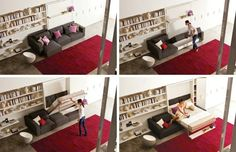 Pull down a guest room anywhere with these sneaky beds. Resource Furniture, Hideaway Bed, Modern Murphy Beds, Multifunctional Furniture, Comfy Sofa, Bed Wall, Tiny Spaces, Diy Bed, Small Space Living