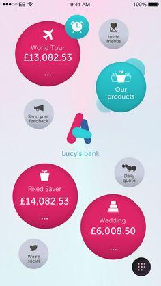 Atom Bank - login using voice and facial recognition, estimates future savings.