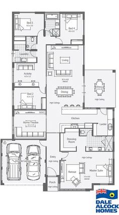 Explore our range of award winning home designs here. Choose your dream home design now with Dale Alcock. Floor Plan 4 Bedroom, 4 Bedroom House Plans, Family House Plans, New House Plans, Dream House Plans, House Floor Plans, The Plan, How To Plan, House Layout Plans