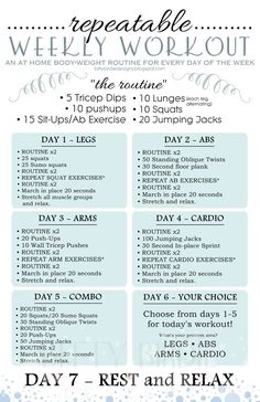 Repeatable Weekly Workout. Only takes 15-20 minutes and rotates through target areas. Beginners: start with ROUTINEx1 instead of x2.: #weightlossrecipes