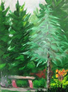 "Daily Paintworks - ""Bench in my Backyard"" - Original Fine Art for Sale - © Debbie Yacenda"