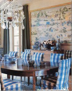 blue damask textured rug dining room