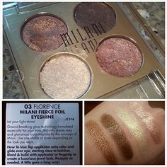 """▪ MILANI FIERCE FOIL EYESHINES ▪ I picked up one of these #brandnew quads from @milanicosmetics in the color """"Florence"""" at CVS yesterday. I thought at first that they were foiled powder shadows, but they're actually extremely metallic (with quite a bit of glitter) CREAM shadows. They're gorgeous!! They're suuuper smooth, almost moussey, and extremely pigmented (except for the light golden cream color, which is a bit patchy and drier than the others). The packaging implies that they can be…"""