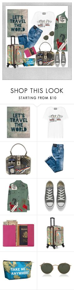 """Let's do it!"" by krista-zou on Polyvore featuring Polaroid, Trademark Fine Art, Gucci, MadeWorn, Converse, Royce Leather and Ray-Ban"