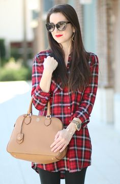 Never Fully Dressed without a Holiday Smile: Red Plaid Shirt Dress - Diary of a Debutante