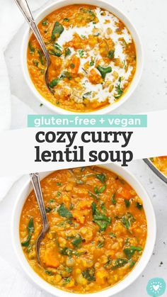 Cozy Curry Lentil Soup - This easy lentil soup recipe is perfect for cold weather and cozy days in. (Vegan, Gluten-Free) // Vegan Lentil Soup // Healthy Lentil Soup // Healthy Soup Recipe // Healthy Lunch // Meal Prep Lunch #lentilsoup #healthysoup #healthylunch #vegan #glutenfree Quick Healthy Meals, Healthy Soup Recipes, Chili Recipes, Quick Recipes, Clean Eating Recipes, Baby Food Recipes, Vegetarian Recipes, Healthy Food, Curried Lentil Soup