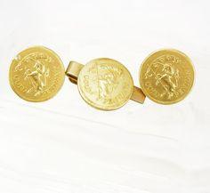 Vintage Gold Pendant Unicorn Cufflinks Tie by NeatstuffAntiques, $95.00