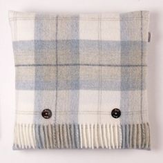 Bronte by Moon Skye Check Aqua Shetland Cushion - in stock now.