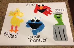 Sesame Street handprint/footprint painting feat. Big Bird, Oscar, Elmo and Cookie Monster