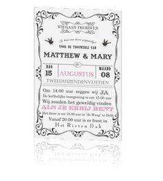 Mooie trendy vintage trouwkaart.