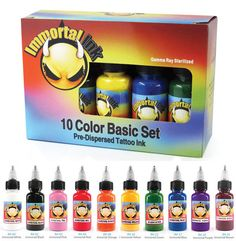 Immortal Ink 10-Pack Primary Color Set – Dragon Tattoo Supply 1(888) 505 1833