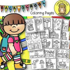Enjoy these No Prep Printables for Back to School! Included are 19 pages of assorted pages that your students will love to color at the beginning of the year! School Coloring Pages, Printable Coloring Pages, Coloring Pages For Kids, Unit Plan, School Worksheets, Interactive Notebooks, Task Cards, Math Centers, Teaching Resources