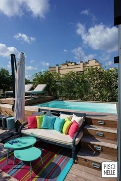 A swimming pool on a roof terrace in Paris