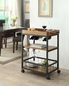 Features:  Product Type: -Kitchen Cart.  Base Finish: -Black.  Counter Finish: -Wood.  Base Material: -Wood.  Counter Material: -Wood.  Style: -Industrial. Dimensions:  Overall Height - Top to Bottom: