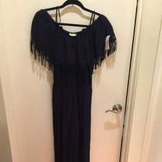Jumpsuit NWT Navy jumpsuit, off the shoulder with straps, tassel crochet-like sleeves, elastic waist Pants Jumpsuits & Rompers