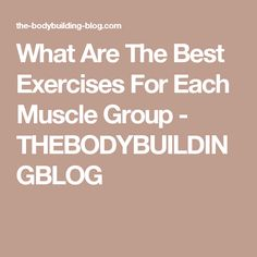 What Are The Best Exercises For Each Muscle Group - THEBODYBUILDINGBLOG