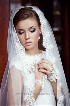 bridal veils made in France | Estelle Mantilla Veil - Wedding Veils Australia