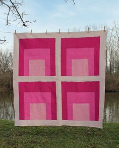 Solid color quilt in pink