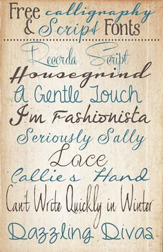 The Shabby Creek Cottage - farmhouse interiors re-designed: Free Calligraphy & Script Fonts Fun Fonts, Cool Fonts, Pretty Fonts, Penmanship, Calligraphy Handwriting, Free Handwriting, Caligraphy, Calligraphy Fonts Free, Handlettering