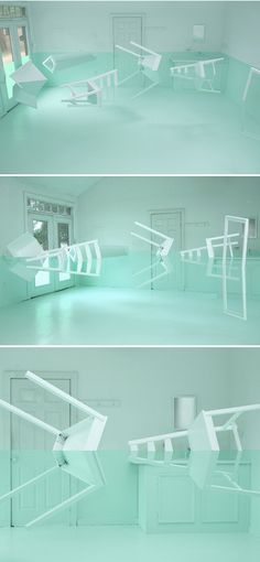 """It's truly amazing what Korean artist Kyung Woo Han has done with some old furniture, an empty room, the most lovely shade of green paint, and just a touch of optical illusion"""