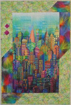 "Perfect for any city dweller. The fabric is Skylines by Hoffman Fabrics.<br> The lime background is Forest Friends by Connie Haley for Hoffman Fabrics. <br>36.54"" x 54.5""  Version 2. Quilted by Kars Quilting."