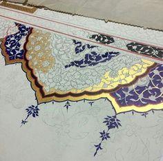Teshib hafizan halim Turkish Pattern, Arabic Pattern, Pattern Art, Illumination Art, Persian Motifs, Arabic Art, Turkish Art, Islamic Art Calligraphy, Illuminated Manuscript
