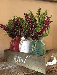 Mason Jar Christmas centerpiece mason jar christmas noel