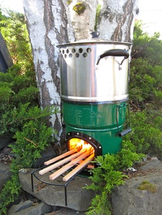 Stove Tec rocket stove will run for a couple of hours on a few sticks, great for when the power goes out.
