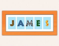 Baby Name Sign with Jungle Animal Print  by SaraWintersDesigns, $70.00