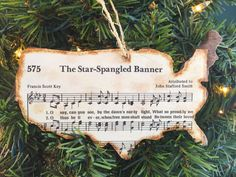 Patriotic Christmas Ornament, Sheet Music Ornaments, Military Ornament, Rustic Ornaments, Wooden Ornaments, Holiday Hostess Gift, America by AtHomeWithWords on Etsy https://www.etsy.com/listing/469471896/patriotic-christmas-ornament-sheet-music